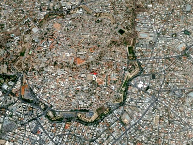 The Old City of Nicosia: can you spot the star with 11 points? And the division line too...